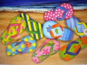 Beach Flip Flops Washable Plastic Vinyl Placemats Set of Four