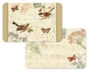 Songbirds and Butterflies Reversible Washable Placemats Set of Four