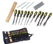 SE 7716WC 16-Piece Professional Wood Carving Chils with Cloth Pouch