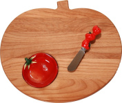 Out of the Woods of Oregon Tomato Shaped Board with Dipping Bowl and Spreader