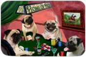 Home of Pugs Tempered Cutting Board 4 Dogs Playing Poker