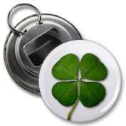 LUCKY FOUR LEAF CLOVER Image St Patrick's Day 5.7cm Button Style Bottle Opener