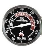 Tel-Tru BQ300 Barbecue Thermometer, 7.6cm black dial with zones, 6.4cm stem, 100/500 degrees F