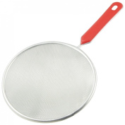 Red Plastic Coated Handle Stainless Steel Silver Tone Mesh Ladle Strainer