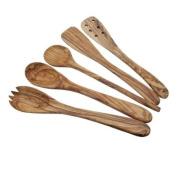 Olive Wood Kitchen Cutlery / Utensils / Servers Set of 5
