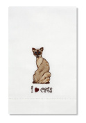 Rescue Me Now Siamese Cat Tea Towel, 27.9cm by 17.8cm , Embroidered