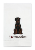 Rescue Me Now Rottweiler Tea Towel, 27.9cm by 17.8cm , Embroidered