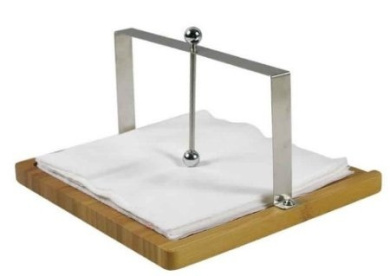 Stainless Steel Napkin Holder with Bamboo Base
