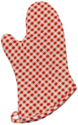 Phoenix 25.4cm Gingham Oven Mitts with Silicone Interior, Red, Package of 4
