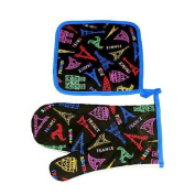 Souvenirs of France - Eiffel Tower Oven Gloves - Colour : Many-coloured