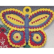 Vintage Crochet PATTERN to make - Pot Holder Butterfly Hot Pad. NOT a finished item. This is a pattern and/or instructions to make the item only.