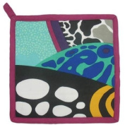 20.3cm Square Blue and Black Coral Reef Motif Collectible Potholder