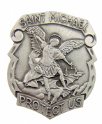 Catholic Gift Archangel Saint St Michael Police Badge Travel Protection Pewter Auto Car Visor Clip