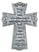 Religious Travellers Gift 5.1cm Pewter Cross with Motorists Prayer Auto Car Visor Clip