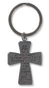 Religious Gift God Grant Me the Serenity Prayer 8.3cm Cross Shape Travel Protection Key Ring