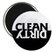 Black and White Clean Dirty Dishwasher Magnet