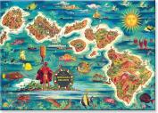 Map of the Hawaiian Islands by Joseph Fehér - Hawaiian Art Collectible Refrigerator Magnet