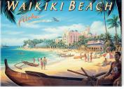 Waikiki Beach, Hawaii by Kerne Erickson - Hawaiian Art Collectible Refrigerator Magnet