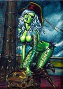 Artist BigToe Tell No Tails Sexy Peg Leg Pirate Girl Fridge Magnet