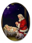 Kneeling Santa in Manger Humble Adoration Infant Christ 7.6cm Oval Christmas Home Kitchen Refrigerator Magnet