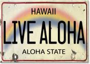 Live Aloha Licence Plate - Hawaiian Art Collectible Refrigerator Magnet