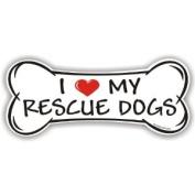 I Love My Rescue Dogs - Bone Magnet