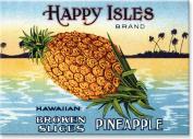 Happy Isles Brand Pineapple Vintage Label - Hawaiian Art Collectible Refrigerator Magnet