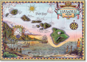 Map of Old Hawaii by Steve Strickland - Hawaiian Art Collectible Refrigerator Magnet
