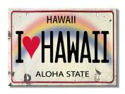 I Heart Hawaii Licence Plate - Hawaiian Art Collectible Refrigerator Magnet - Vintage Hawaiiana