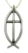 Catholic Religious Gift Ichthus Jesus Fish w Inlay Cross Travel Protection Auto Rearview Mirror Hanging Ornament