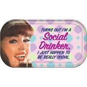 Retro Humour Really Social Drinker Magnetic Mini Tin Sign