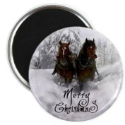 Beautiful HORSE in White Snow Merry Christmas 5.7cm Fridge Magnet