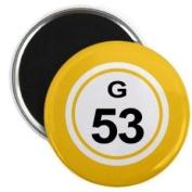 Bingo Ball G53 FIFTY-THREE Yellow 5.7cm Fridge Magnet