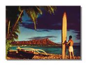 Outrigger and Diamond Head Surfer - Hawaiian Art Collectible Refrigerator Magnet - Vintage Hawaii