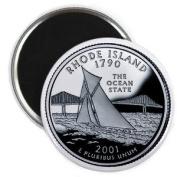 RHODE ISLAND State Quarter Mint Image 5.7cm Fridge Magnet