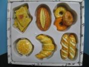 3D magnets set Bread baguette hamburger bagels croissant 6 pc bar Kitchen.