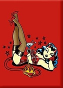 Artist Vince Ray Martini Devil Girl Fridge Magnet