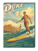 Duke Kahanamoku Surfing - Hawaiian Art Collectible Refrigerator Magnet by Kerne Erickson