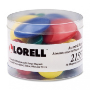 Lorell Tub of Assorted Magnet,Small, Medium, Large - 30 / Pack - Red, Yellow, Blue, Green