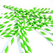 Bella Cupcake Couture Paper Party Striped Straws, Green/White