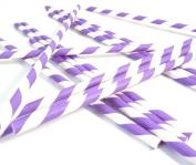 Bella Cupcake Couture Paper Party Striped Straws, Purple/White