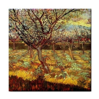 Apricot Trees in Blossom By Vincent Van Gogh Tile Trivet