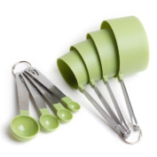 Cook's Corner 8-Piece Green Measuring Tools - 4 Measuring Cups / 4 Measuring Spoons
