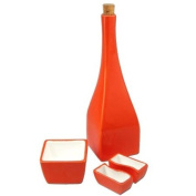 Oil Bottle with Dipping Dishes, Orange Kitchen Collection