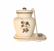Pepper Mill Imports Creme Ceramic Olive Grape Themed Container, 3.8l