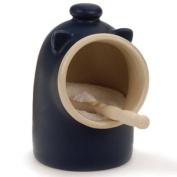 Blue stoneware Salt Pig Including Spoon Salt Keeper Jar