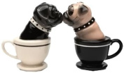 Tea Cup Pugs Magnetic Ceremic Salt and Pepper Shakers