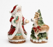 Elegant Victorian Harvest Santa & Reindeer Salt/Pepper Collectible