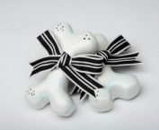 8.9cm Long Dog Bones With Black And White Bows Salt And Pepper