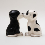 Black White Pups Dog Ceramic Magnetic Salt and Pepper Shakers Collection Set